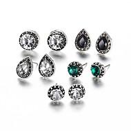 Kadın's Klasik Retro Vidali Küpeler Yapay Elmas Küpeler Bayan Tatlı Zarif Mücevher Gümüş Uyumluluk Seramoni Dışarı Çıkma 5 Çiftleri