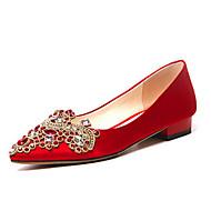 baratos Sapatos Femininos-Mulheres Sapatos Cetim / Seda Primavera Conforto Sapatos De Casamento Sem Salto Vermelho