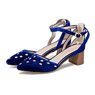 baratos Sapatos Femininos-Mulheres Sapatos Microfibra Outono & inverno D'Orsay Saltos Salto Robusto Dedo Apontado Cristais / Presilha Vermelho / Verde / Azul / Festas & Noite