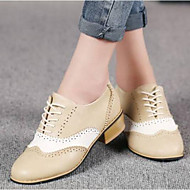 cheap Women's Oxfords-Women's PU(Polyurethane) Summer Comfort Oxfords Chunky Heel Closed Toe Beige / Gray / Coffee / Party & Evening