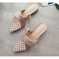 preiswerte -Damen Schuhe Satin Frühling Komfort Cloggs & Pantoletten Niedriger Heel Schwarz / Mandelfarben