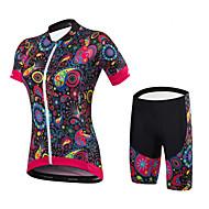 tanie -Malciklo Damskie Krótki rękaw Koszulka z szortami na rower Czarny Kwiatowy / Roślinny Rower Zestawy odzież Sport Spandeks Bamboo-włókno węglowe Coolmax® Kwiatowy / Roślinny Kolarstwo górskie