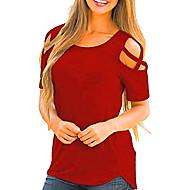 T-shirt Per donna Tinta unita Cotone / Tagliato