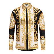 男性用 シャツ ヴィンテージ レギュラーカラー 幾何学模様 コットン / 長袖