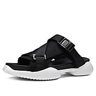 baratos Sapatos Masculinos-Homens Jeans / Tecido elástico Verão Conforto Chinelos e flip-flops Preto / Vermelho