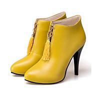 สำหรับผู้หญิง รองเท้า PU ฤดูใบไม้ร่วง & ฤดูหนาว Fashion Boots / รองเท้าบู้ท บูท ส้น Stiletto Pointed Toe รองเท้าบู้ทหุ้มข้อ พู่ สีดำ / สีเหลือง / แดง / พรรคและเย็น