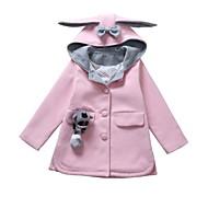 Børn Pige Basale Ensfarvet Langærmet Jakke og frakke