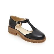 baratos Sapatos Femininos-Mulheres Sapatos Couro Ecológico Primavera Verão Conforto Sandálias Salto Robusto Branco / Preto