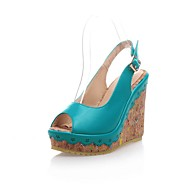baratos Sapatos Femininos-Mulheres Sapatos Couro Ecológico Primavera Verão Conforto Sandálias Salto Plataforma Branco / Azul / Rosa claro