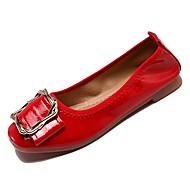 tanie Obuwie damskie-Damskie Komfortowe buty PU Jesień Buty płaskie Płaski obcas Plac Toe Beżowy / Czerwony / Różowy