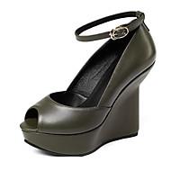baratos Sapatos Femininos-Mulheres Sapatos Pele Napa Inverno Plataforma Básica Saltos Salto Plataforma Preto / Verde