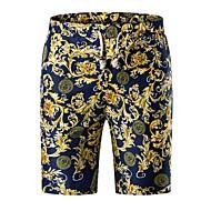 Pánské Aktivní / Šik ven Větší velikosti Štíhlý Kalhoty chinos / Kraťasy Kalhoty - Geometrický Námořnická modř / Jaro / Léto / Víkend