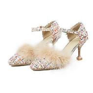 baratos Sapatos Femininos-Mulheres Sapatos Linho Primavera Conforto Saltos Salto Agulha Branco / Preto