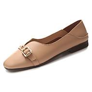 Χαμηλού Κόστους Άνετα μοκασίνια-Γυναικεία Παπούτσια PU Φθινόπωρο Μοκασίνι Χωρίς Τακούνι Επίπεδο Τακούνι Στρογγυλή Μύτη Λευκό / Αμύγδαλο