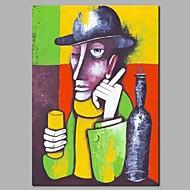 Hang malte oljemaleri Håndmalte - Abstrakt Mennesker Moderne Inkluder indre ramme / Stretched Canvas