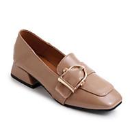 baratos Sapatos Femininos-Mulheres Sapatos Confortáveis Couro Ecológico Primavera Verão Mocassins e Slip-Ons Salto Robusto Preto / Khaki