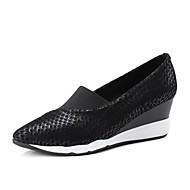 baratos Sapatos Femininos-Mulheres Sapatos de couro Pele de Carneiro Primavera Verão Mocassins e Slip-Ons Salto Plataforma Preto / Prateado / Rosa claro