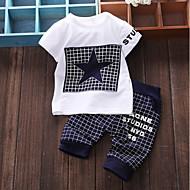 Baby Jungen Grundlegend Alltag Patchwork Patchwork Kurzarm Standard Baumwolle Kleidungs Set Marineblau