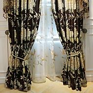 baratos Cortinas Transparentes-Sheer Curtains Shades Sala de Estar Floral Algodão / Poliéster Estampado