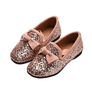 baratos Sapatos de Menina-Para Meninas Sapatos Cetim / Couro Ecológico Primavera & Outono / Primavera Sapatos para Daminhas de Honra Rasos Caminhada Laço / Gliter com Brilho para Infantil Preto / Prata / Rosa claro