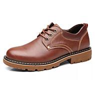 baratos Sapatos Masculinos-Homens Pele / Couro Ecológico Outono Conforto Oxfords Preto / Marron
