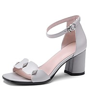 baratos Sapatos Femininos-Mulheres Sapatos Pele Napa Verão Conforto Sandálias Salto Robusto Preto / Cinzento Claro