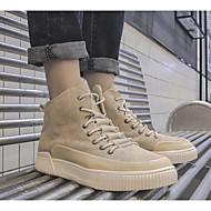 baratos Sapatos Masculinos-Homens Linho Primavera / Outono Botas da Moda Tênis Botas Curtas / Ankle Preto / Khaki