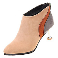 cheap -Women's Pumps PU(Polyurethane) Fall Minimalism Boots Translucent Heel Pointed Toe Booties / Ankle Boots Black / Almond / Color Block
