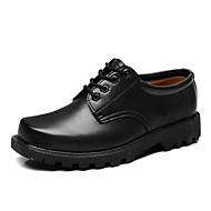 tanie Small Size Shoes-Męskie Komfortowe buty Skóra Jesień W stylu brytyjskim Oksfordki Antypoślizgowe Czarny / Brązowy