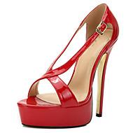 baratos Sapatos Femininos-Mulheres Sapatos Couro Ecológico Verão D'Orsay Sandálias Salto Agulha Dedo Aberto Presilha Preto / Vermelho / Vinho / Festas & Noite
