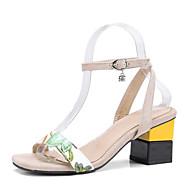 baratos Sapatos Femininos-Mulheres Sintéticos Primavera Verão Tira no Tornozelo Sandálias Salto Robusto Dedo Aberto Preto / Amêndoa / Festas & Noite