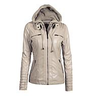 Women's Daily Short Leather Jacket, Contemporary Hooded Long Sleeve PU Black / Beige / Dark Coffee XXXXL / XXXXXL / XXXXXXL