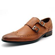 baratos Sapatos Masculinos-Homens Pele Verão / Outono Monge Tênis Oxfords Marron / Festas & Noite