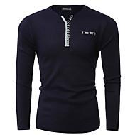 men's long sleeve pullover - solid colored v neck