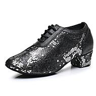 Damen Schuhe für modern Dance Leder Oxford / Absätze Starke Ferse Tanzschuhe Schwarz / Rot