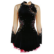 cheap -Figure Skating Dress Women's / Girls' Ice Skating Dress Black Spandex High Elasticity Competition Skating Wear Handmade Jeweled / Rhinestone Long Sleeve Ice Skating / Figure Skating