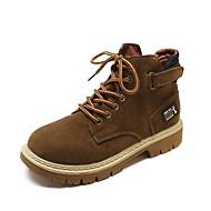 baratos Sapatos Femininos-Mulheres Coturnos Camurça Outono Botas Salto de bloco Ponta Redonda Preto / Castanho Claro / Khaki