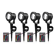 baratos Focos-4pçs 10 W Focos de LED / Luzes do gramado Impermeável / Controlado remotamente / Decorativa RGB 12 V Iluminação Externa / Pátio / Jardim
