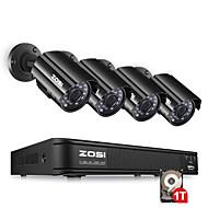 billige DVR-Sett-zosi 4ch hd-tvi 720p dvr innebygd 1 tb hdd med 4pcs hd 1280tvl innendørs / utendørs værbestandig cctv kameraer
