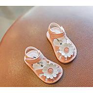 baratos Sapatos de Menina-Para Meninas Sapatos Couro Ecológico Verão Primeiros Passos Sandálias Flor / Velcro para Bebê Branco / Rosa claro / Estampa Colorida