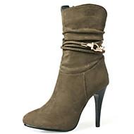 baratos Sapatos Femininos-Mulheres Sapatos Camurça Outono & inverno Botas da Moda Botas Salto Agulha Dedo Apontado Botas Cano Médio Pedrarias Preto / Cinzento / Khaki