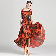 cheap Dancewear & Dance Shoes-Ballroom Dance Dresses Women's Training / Performance Ice Silk Draping / Pattern / Print Short Sleeve High Dress
