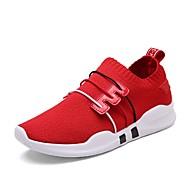 baratos Sapatos Femininos-Mulheres Tricô / Com Transparência Verão Conforto Tênis Corrida / Caminhada Sem Salto Branco / Preto / Vermelho