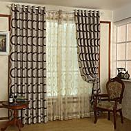 billige Gardiner-Stanglomme Propp Topp Fane Top Dobbelt Plissert Blyant Plissert To paneler Window Treatment Moderne, Mønstret Geometrisk Barnerom