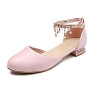 baratos Sapatos de Menina-Para Meninas Sapatos Couro Sintético Verão Sapatos para Daminhas de Honra Saltos Pérolas para Infantil / Adolescente Branco / Azul / Rosa claro