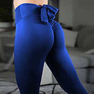 Dame Sløjfer Yoga bukser - Lilla, Lysegrå, Bourgogne Sport Helfarve Spandex Tights Løb, Fitness, Dans Sportstøj Anatomisk design, Åndbart, Komprimering Elastisk
