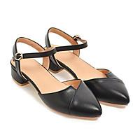 baratos Sapatos Femininos-Mulheres Couro Sintético Verão Casual Saltos Salto Robusto Branco / Preto / Rosa claro