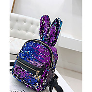 cheap High School Bags-Women's Bags Polyester / PU(Polyurethane) Backpack Sequin / Zipper Red / Blushing Pink / Silver