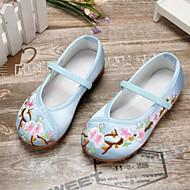 baratos Sapatos de Menina-Para Meninas Sapatos Cetim Primavera & Outono Conforto Rasos Flor de Cetim para Infantil / Adolescente Vermelho / Azul / Rosa claro