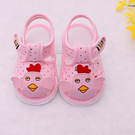 baratos Sapatos de Menina-Para Meninas Sapatos Couro Ecológico Verão Primeiros Passos Sandálias Velcro para Bebê Rosa claro